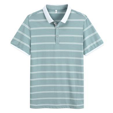 迪仕尼奴夏季新款男士T恤短袖翻领条纹薄款弹力半袖衫商务休闲8875A