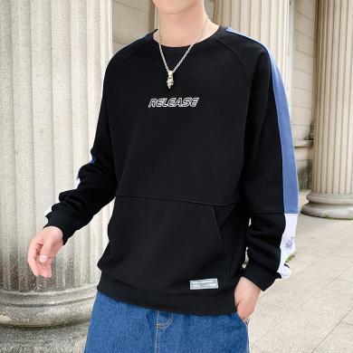 卫衣长袖T恤男士长上衣卫衣日系复古撞色拼接圆领卫衣男潮春秋青年学生宽松休闲情侣套头上衣卫衣ZX-956
