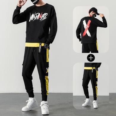 运动服男士长袖套装两件套男士卫衣套装2019春秋新款韩版潮流休闲装青年帅气运动两件一套潮运动服RK-TZ553