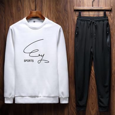 运动服男士长两件套卫衣卫裤男士春秋季运动套装男学生韩版长袖卫衣头套青少年跑步服两件套潮运动服XY-TZ307