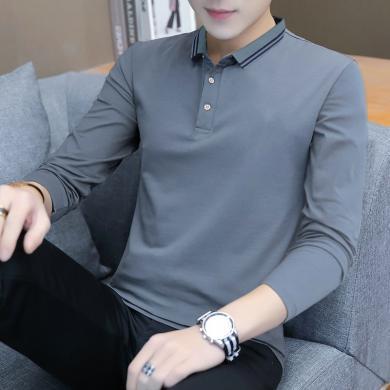 搭歌2019秋季新款男士长袖t恤潮流纯色大码男式polo衫棉质男装打底衫 LQS9008