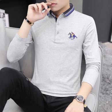 搭歌新款男式棉质polo衫秋季长袖t恤男翻领青少年潮流运动打底衫 LQS9009