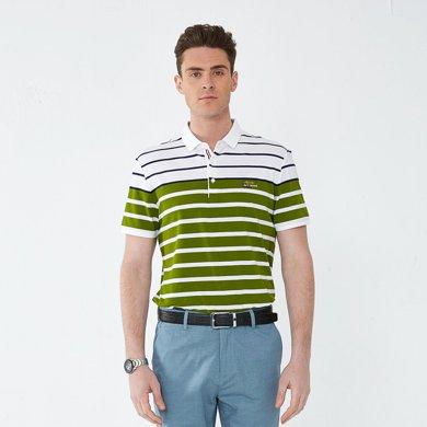 迪仕尼奴短袖保罗衫男夏薄款条纹T恤商务修身翻领衫8772A