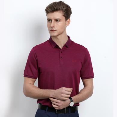 迪仕尼奴春夏新品男士T恤短袖纯色翻领薄纯色冰丝polo衫商务0126