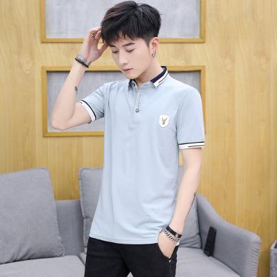 搭歌2019夏季新款男式t恤棉男士短袖T恤男裝翻領polo衫LQH150