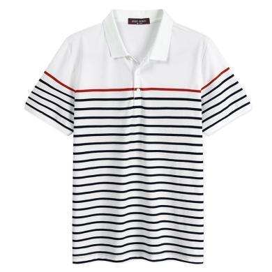 迪仕尼奴春季新品t恤男士青年短袖翻领条纹polo衫薄款百搭休闲装0120