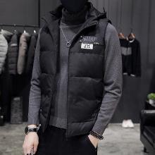 史克维斯冬季外套男士韩版加厚羽绒棉连帽坎肩无袖马甲学生修身棉衣MJ7062SLEM