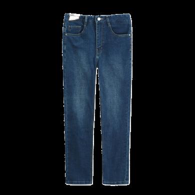 迪仕尼奴秋冬新品男士長褲中腰合體微彈厚款牛仔褲藍色直筒褲子8345E