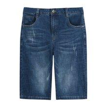迪仕尼奴新款牛仔短裤男士夏季薄款中腰透气休闲短裤宽松大码直筒339E