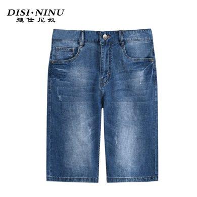 迪仕尼奴夏季牛仔短褲男水洗薄款淺藍直筒短褲寬松五分褲8366E