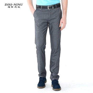 迪仕尼奴春夏新款中年男士休闲裤商务直筒修身薄款灰色长裤444D