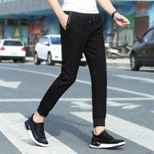 搭歌夏季新款韩版小脚裤青年字母休闲裤腰带铅笔裤18903