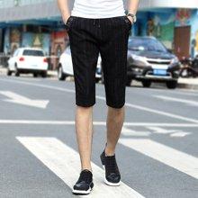 搭歌男装新款五分裤夏季休闲薄款短裤运动条纹男裤181901