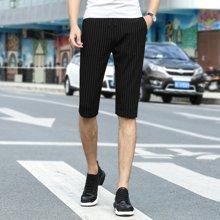 搭歌夏季新款青年韩版中裤男装条纹五分裤休闲裤子181902