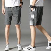 搭歌夏季男式休闲裤纯棉潮流五分中裤三条杠男士跑步运动裤A10