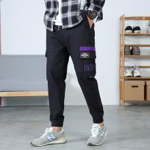 工装裤男潮牌立体刺绣撞色多口袋束脚裤子男韩版潮流黑色休闲CH-101