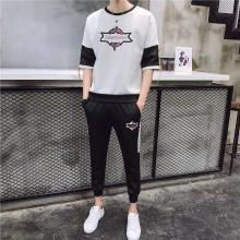 【热卖】两件套男两件套2019新款男士日系短袖套装运动服男衣服情侣装两件套跑步两件套健身套装运动套装男衣服RK-TZ829