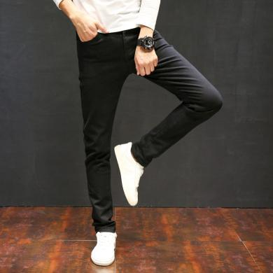牛仔褲男士休閑褲牛仔褲黑色牛仔褲男冬季修身小腳牛仔褲男士韓版潮牌彈力青年男士牛仔褲牛仔褲DM-8011