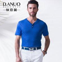 意大利狄亚诺夏季新品中年高端商务休闲V领纯色短袖T恤男士112587