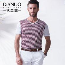 意大利狄亚诺夏季新品条纹拼接高端商务休闲中年短袖t恤男士112592