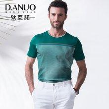 意大利狄亚诺夏季新品条纹高端商务休闲纯棉男士短袖t恤112590