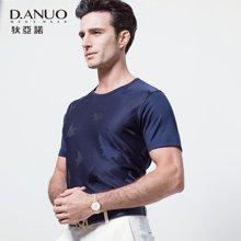 狄亚诺夏季新款高端商务休闲中年男士圆领印花短袖t恤男 112690