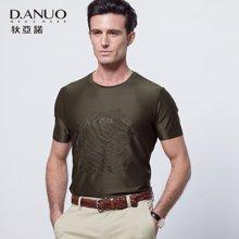 狄亚诺夏季新款高端商务休闲中年圆领印花短袖t恤男士 112688