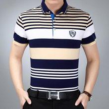 梵蒂古琦短袖t恤衫翻领中年纯棉短袖夏季新款17361