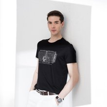 狄亚诺t恤 夏季新品净色印花男士t恤短袖时尚休闲针织短袖T恤  712756
