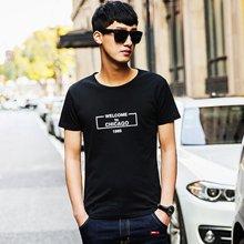 库依娜2019夏季新款男装男士短袖t恤圆领弹力字母框半袖VZTX17006