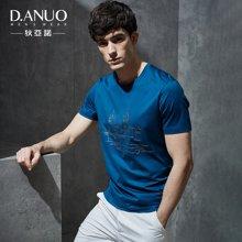 狄亚诺 夏季新款时尚休闲商务棉质印花圆领短袖T恤男上衣 112710