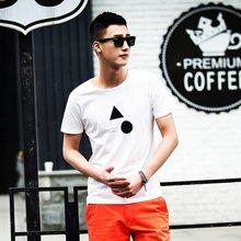 库依娜2019夏季新款男装男士短袖t恤圆领弹力图案棉质半袖中青年VZTX17032