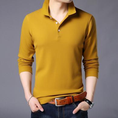 花花公子貴賓 秋季新款男士百搭棉T恤舒適休閑長袖T恤純色翻領打底衫