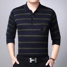 姝奕春季新品男士T恤个性长袖男式条纹休闲翻领商务YT-J888-7