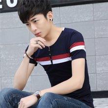 芃拉男士短袖T恤男装韩版修身简约打底纯色V领T恤青年学生夏季短袖T恤KLB362
