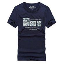 战地吉普 夏季新款宽松大码印花男士短袖T恤圆领户外打底衫
