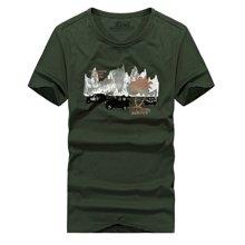 战地吉普 夏季新款户外印花军旅风硬汉T恤衫休闲百搭男士短袖T恤打底衫