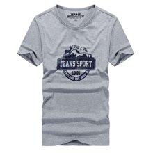 战地吉普 夏季新款时尚休闲字母印花百搭短袖T恤男士打底衫T恤