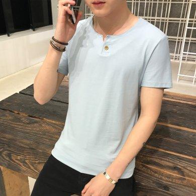 卓狼一粒扣短袖T恤夏季新品微弹短袖t恤男T801