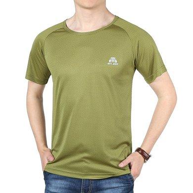 戰地吉普 夏季新款戶外休閑速干衣修身圓領短袖T恤上衣