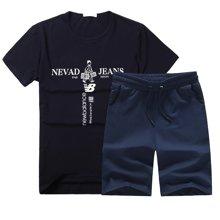 卓狼夏季男士休闲运动套装韩版印花一套男装圆领短袖衣服TZ701ZJ