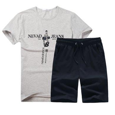 卓狼夏季男士休閑運動套裝韓版印花一套男裝圓領短袖衣服TZ701ZJ