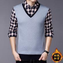 花花公子贵宾 秋冬装新款男士T恤衫加绒保暖打底休闲长袖针织上衣男