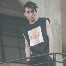 DupuSen度普森无袖t恤男街头潮流个性港风夏季青少年嘻哈棉针织汗衫坎肩背心TRY-501