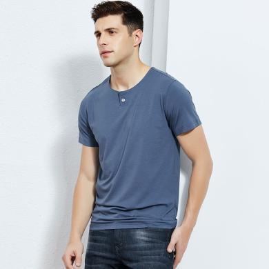 【只有小码】才子(TRIES)短袖T恤时尚都市T恤修身圆领薄款竹棉微弹T恤衫 CZ/82192E2520