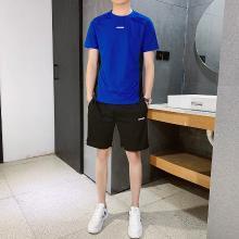 度普森男装 两件套男短袖套装情侣装短袖t恤男5分裤夏季2019新款韩版潮流初中学生休闲运动衣服两件套WM-K12