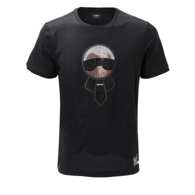 [支持购物卡]FENDI/?#19994;?男装水晶装?#21355;?#20315;爷图案针织T恤短 FY0626