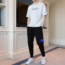 【新品】度普森男裝運動服男短袖套裝2019新款男士夏季套裝休閑運動男裝短袖T恤韓版帥氣修身兩件套運動服套裝AP-9235