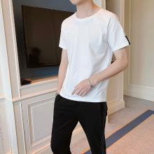 度普森男裝套裝男夏季短袖套裝2019夏季短袖男士套裝韓版修身潮流兩件套休閑運動服一套衣服男裝運動服AP-9202