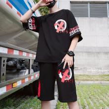 度普森男裝 短袖套裝男士夏季兩件套夏季短袖男士韓版潮流寬松圓領T恤兩件套青少年運動服休閑潮牌ins短袖套裝RK-642